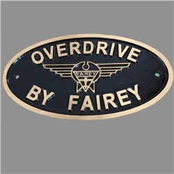Cast Bronze/Aluminium Overdrive By Fairey plate