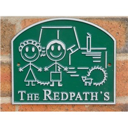 Personalised Tractor and Family House Plaque