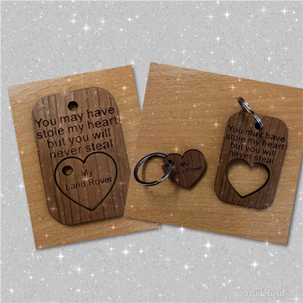 Valentines wooden key ring