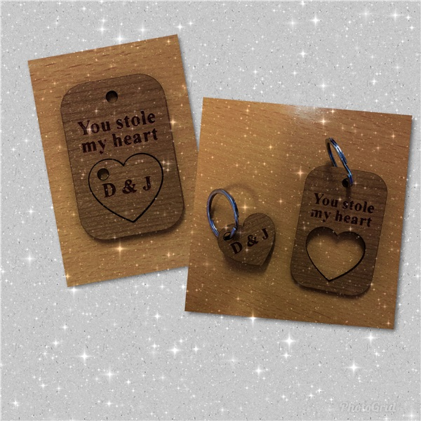 Valentines wooden personalised key ring