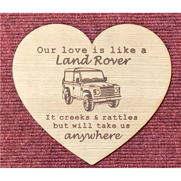 Land rover veneer wood heart laser engraved