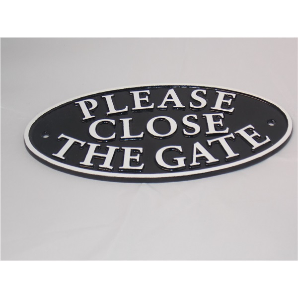 Please close the gate - oval sign